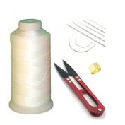 Ninetonine Bonded Nylon Sewing Thread, Curved Needles, Scissors and Thimble Tools Kits