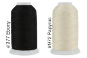 Super Threads King Tut #40/3 Ply Quilting Thread 2,000 per cone BUNDLE of 2 - Papyrus & Ebony