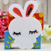 Ioffersuper 2pcs Embroidered Cloth Iron On Patch Motif Applique Sew Couple Cute Rabbit Small White