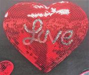 Love Heart Patch Iron On, Heat Press MOTIF applique DIY Sequin Patch