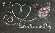 Valentine's Day Rhinestone Transfer Iron On, Hotfix , Heat Press MOTIF applique DIY crystal Lady Bug