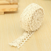 Shopline 3 Yards Vintage Crochet Lace, DIY Trim Ribbon for Craft Applique Sewing Decoration / Beige