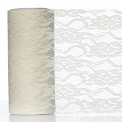 Floral Shimmer Lace Glitter Tulle Fabric Roll-Ivory- 15cm X10 Yards
