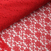 Beguiling Blossomy Lace Fabric Bolt - Red- 140cm X 15 Yards