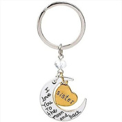 Pendants Keychain I Love You To The Moon And Back Key Ring Fashion Jewellery Valentine's Day Birthday Wedding Gift for sister