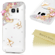 Galaxy S7 Edge Case - Mavis's Diary 3D Handmade Bling Crystal Lovely Pink Gems Butterflies Cute White Butterfly Shiny Glitter Diamonds Rhinestones Full Edge Hard PC Cover for Samsung Galaxy S7 Edge