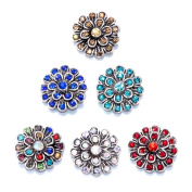 Soleebee 6pcs Alloy Snap Buttons Jewellery Charms - Peacock Spread its Tail