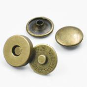 "Bluemoona 20 Sets - 18mm 3/4"" Magnetic snaps purse Double Rivet closures Round Clasp Stud Button Bag Leather Bronze"