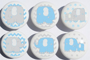 Blue Elephant Drawer Pulls / Elephant Nursery Decor Ceramic Drawer Knobs, 6 Set