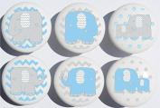 Blue Elephant Drawer Pulls / Elephant Nursery Decor Ceramic Drawer Knobs, 6 Set