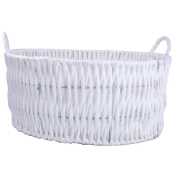 AiXiAng Newborn Baby Photo Props Basket Infant Photography Prop White Handmade Woven Round Handle Basket