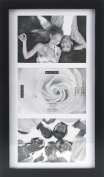 Malden International Designs Matted Linear Classic Wood Picture Frame, 3 Option, 3-5x7, Black