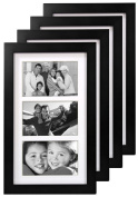 Malden International Designs Matted Linear Classic Wood Picture Frame, 4x6, 4 Pack, Black