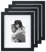 Malden International Designs Matted Linear Classic Wood Picture Frame, 5x7, 4 Pack, Black