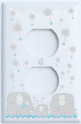 Grey and Blue Dandelion Elephant Outler Switch Plates Covers / Elephant Nursery Decor