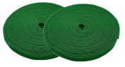 iMBAPrice® Green Cable Fastening Tape - (Pack of 2) 1.9cm One Wrap Hook & Loop (23m) 25 Yards Long