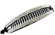 Sparkly 16 cm Long Crystal Studded Banana Clip Hair Claw Grip in Black Plastic