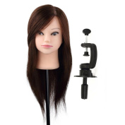 Fulltime(TM) Hairdressing Mannequin Professional Training Head Model Hairdresser Human Hair with Clamp