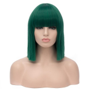 Royalvirgin Fashion 40CM Short Bob Wig Wig with Bangs Synthetic Hair Green wigs Cosplay Perruque Heat Resistant