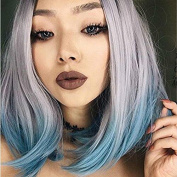 New Fashion Heat Resistant Fibre Hair With Dark Roots Silver Grey/Light Green Ombre Short Bob Wig Synthetic Lace Front Wigs