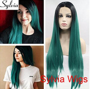 Sylvia hot green silky straight wig with black roots high quality green ombre long straight glueless synthetic lace front wigs heat resistant fibre hair