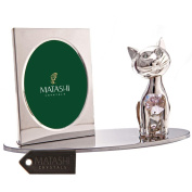 Silver Plated Picture Frame with Crystal Decorated Cartoon Cat Figurine on a Base by Matashi