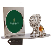 Silver Plated Picture Frame with Crystal Studded Cartoon Lion Figurine on a Base by Matashi