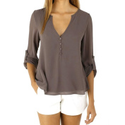 Blouse Tops,Clode® Women Chiffon Special Design Casual Loose Long Sleeve V-Neck Blouse Shirt Tops