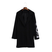 Lychee Dragon Embroidery Blazer Coat Long Sleeve V-Neck Outerwear Black Top