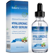 Hyaluronic Acid Serum 60ml - Best hydration moisturiser for the face. Contains Vitamin C, Retinol, Vitamin E. Plumps and smoothes fine lines and wrinkles. Antioxidant protection and collagen builder for softer more radiant and healthier looking skin.