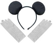 Black Mickey Mouse Disney Fancy Dress Ears Headband + Gloves Set