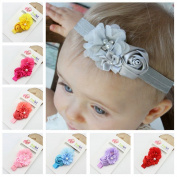 OULII 8 Colours Cute Infant Headband Baby Girls Sweet Flower Pearl Hair Accessories Photo Props Decoration