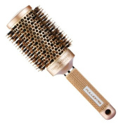 SUPRENT Nano Thermal Ceramic & Ionic Round Barrel Hair Brush with Boar Bristle, 5.1cm , for Hair Drying, Styling, Curling, Adding Hair Volume and Shine, Gold Colour