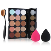 CINEEN Contour Kit Professional 15 Colours Highlighting Face Cream Concealer Palette + Makeup Blusher Toothbrush Curve Foundation Brush + 2pcs Sponge Puff