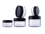 Pack of 12 3ml/5ml/10ml/15ml/20ml Empty Refillable Travel Transparent Plastic Jar Pot with Black Screw Cap Round Shape Makeup Face Cream Lip Balm Eye Shadow Storage Box Cosmetic Sample Containers