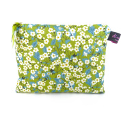 Luxurious Liberty Fabric Medium Flat Purse, Cosmetic Make Up Bag Design Mitsi Green