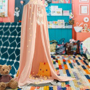 KING DO WAY Princess Kids Bed Canopy Cotton Mosquito Net Kids Play Tent Curtains Room Decoration for Baby Indoor Outdoor Playing Reading Height 240cm Pink