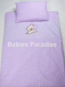 Babies Paradise 2 Piece Baby Bedding Set with Gingham Bear Pattern Balloon Purple
