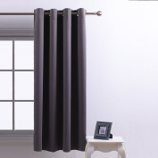 PONYDANCE Thermal Insulated Interwoven Lining Top Eyelet Window Treatment Blackout Curtain, 1 Panel Only, 130cm x 160cm , Grey