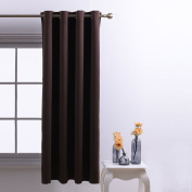 Blackout Curtains Eyelet Nursery Décor - PONYDANCE Premium Drakening Top Ring Super Soft Solid Interwoven Lining Thermal Insulated Blackout Curtains for Nursery , Room Darkening , One Panel, 130cm x 160cm (Width by Length), Brown