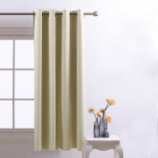 Blackout Curtains Eyelet Window Treatments - PONYDANCE Home Fashion Room Drakening Thermal Insulated Top Eyelets Window Treatment Interwoven Lining Blackout Curtains for Bedroom, Single Panel , W 130cm by L 160cm , Beige