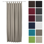 Beautissu® Thermal-Curtain Amelie with Loops - 140x245 cm Sand (Beige) - Isolating Curtain Loop-Curtain Opaque