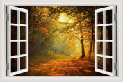 3D Window Scenery Wall Sticker Silent Forest Maple Tree Landscape Wallpaper Vinyl Decal 80cm x 120cm