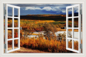3D Window Scenery Wall Sticker Autumn Tree Landscape Wallpaper Vinyl Decal 80cm x 120cm