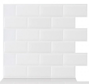 White Self Adhesive 3D Sticker Glitter PU Kitchen & Bathroom Wall Tiles Wall Sticker Wall Paper Decorate Protect and Create SIZE:23.5*28cm/PCS Pack of 10