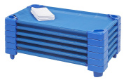 ECR4Kids Stackable Ready-To-Assemble Toddler Kiddie Cots (6 Pack) with Sheets, Blue