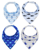 4-Pack Unisex Baby Toddlers Bandana Drool Bibs with Snaps 100% Soft Organic Cotton Unique Shower Gift Set Super Absorbent for Teething Feeding Fashion Adjustable