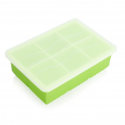 Large Ice Cube Trays - GVDV Silicone Ice Square Mould 15cm x 5.1cm for Whiskey, Gin Glass, Cocktail Drinking Bar Drinks, Cooling Ice Food Maker Freezer with Lid - Green