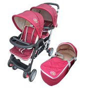 Exclusive Tandem - Twin Pram scarlet - BambinoWorld