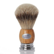 Shaving Brush hand-selected silver tip, handle olive wood chrome, 23,5mm